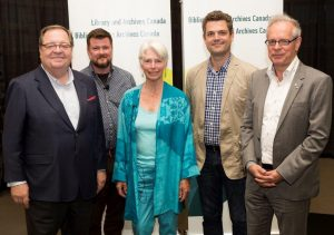 Left to right: Dr. Guy Berthiaume, Library and Archivist of Canada; Peter Schneider, Canada Council for the Arts; Heather Menzies; Sean Wilson, Artistic Director, Ottawa International Writers Festival; Simon Brault, Director and CEO for the Canada Council for the Arts. Photo Credit: Library and Archives Canada